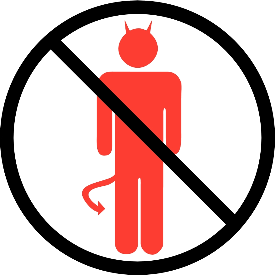 No Devils Allowed Sign