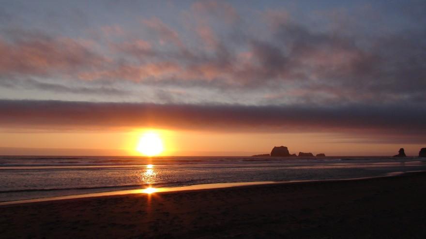 Setting Sun Over Calm Waters Church Stock Photo